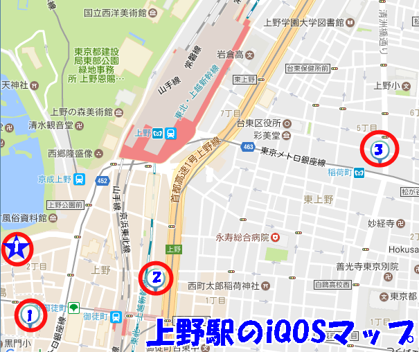 上野駅のiQOSマップ