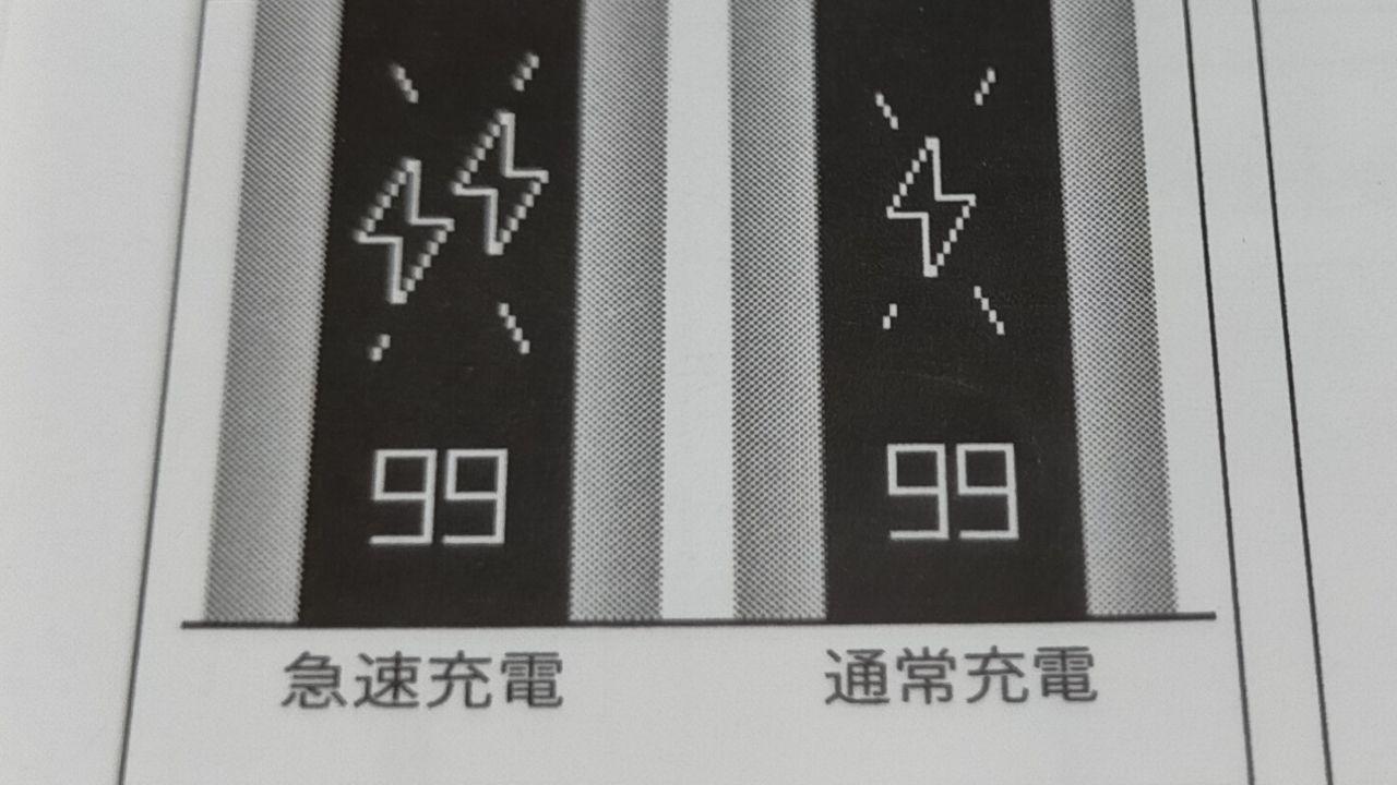 リルハイブリッドの通常充電中と急速充電中のマーク